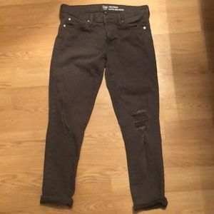 Gap olive green destroyed girlfriend jeans